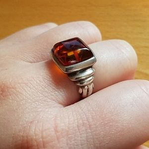 Jewelry - Square amber vintage ring sterling